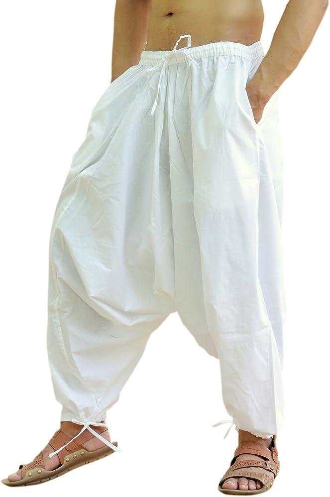 Sarjana Handicrafts Pantalones bombachos para hombres, de algodón, estilo genio, de yoga, harem, Hombre, color blanco, tamaño M: Amazon.es: Ropa y accesorios