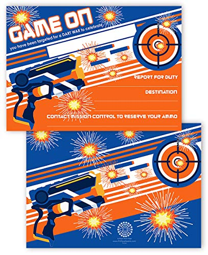 POP parties Dart Gun Invitations - 20 Invitations