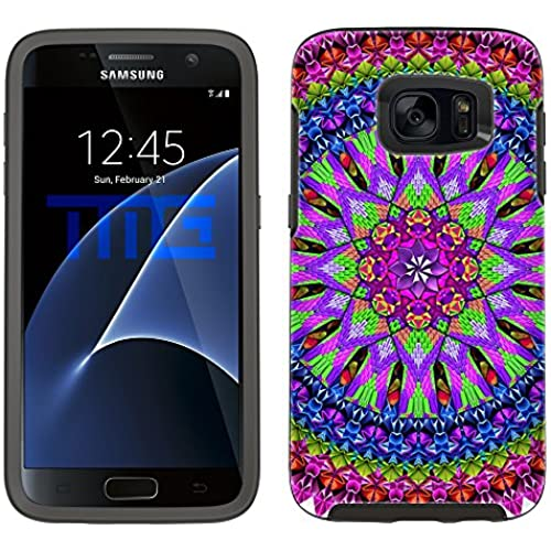 Skin Decal for Otterbox Symmetry Samsung Galaxy S7 Edge Case - Mandala Neon Bird Feathers on White Sales