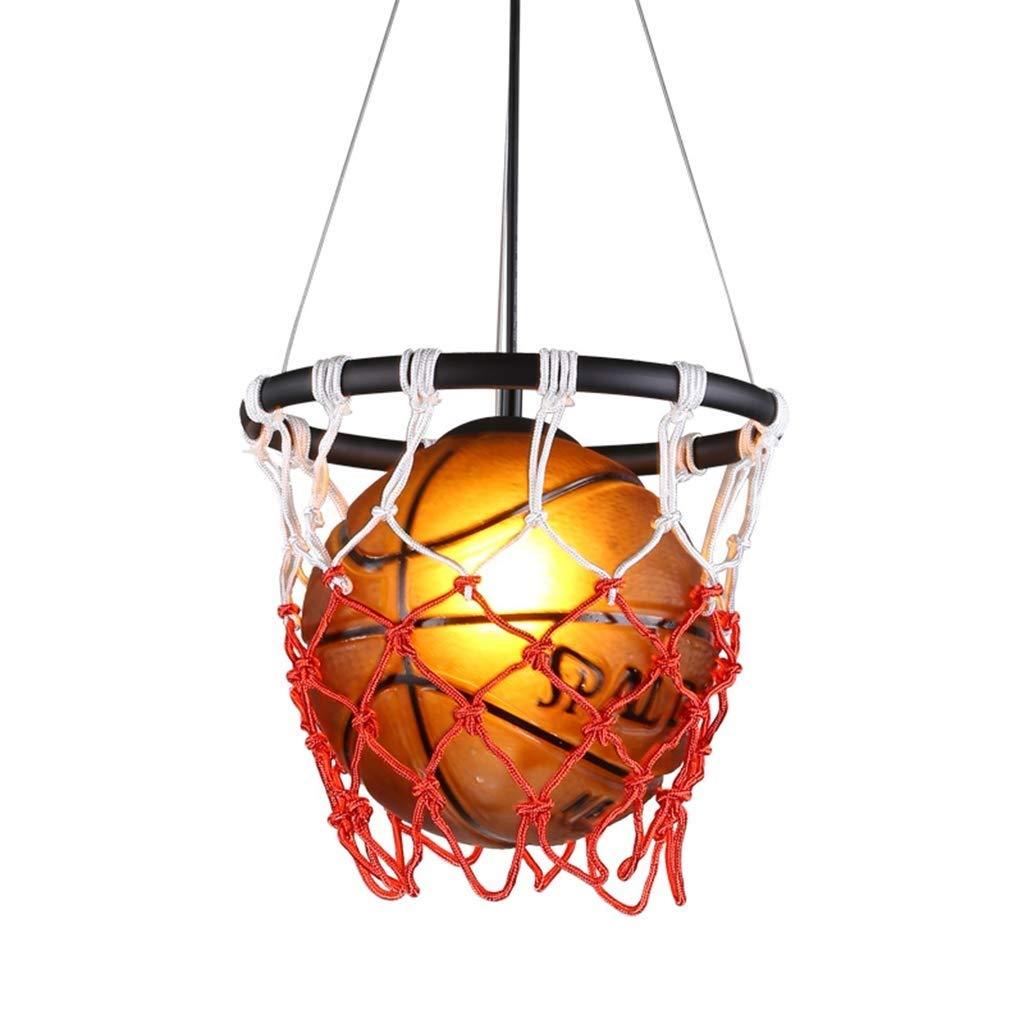 レトロクリエイティブバスケットボールペンダントライトスポーツ、アメリカの産業スポーツテーマアート装飾シャンデリアの装飾照明シーリングライト用レストランバースポーツショップキッズルーム B07TPLWC59