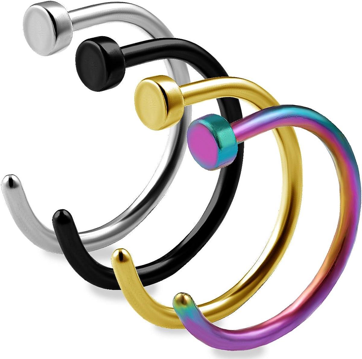 Amazon Com Bodyjewellery 4pcs 20g 5 16 Nose Ring Stud Hoop