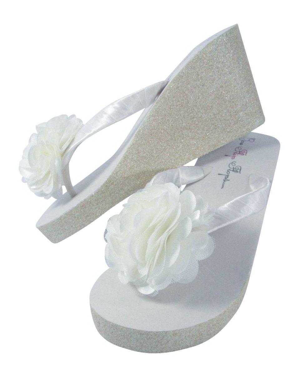 ecce510bb8493 Amazon.com  Glitter Wedge Wedding Flip Flops Pom Posy Tulle Satin Flower