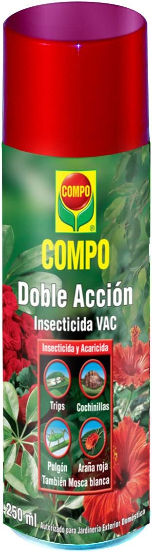 Compo Aerosol Doble Acción, Insecticida y acaricida, para jardinería Exterior doméstica, 250 ml