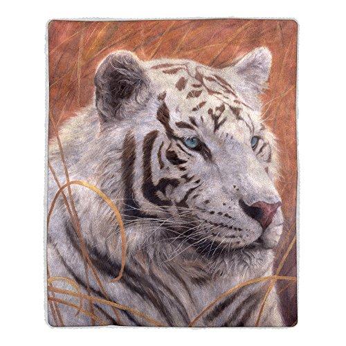 Tiger Print Throw (Lavish Home 64 Sherpa Fleece Blanket, White Tiger Print)