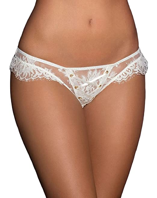 c722c8277 Intimate Fantasies Sexy White Lace up Thong French Knickers Tie Bridal Size  M 8 10 12 14 16 18 20  Amazon.co.uk  Clothing
