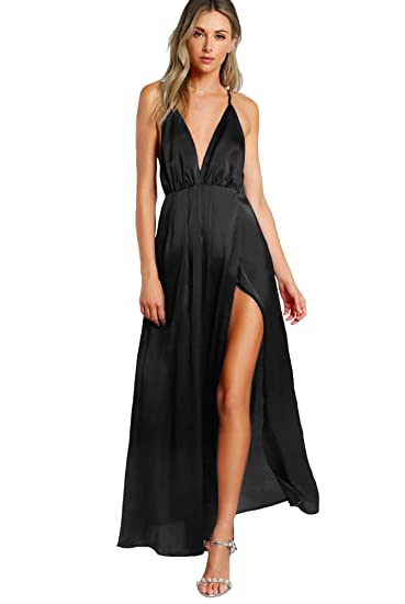 4621b7168152c SheIn Women's Sexy Satin Deep V Neck Backless Maxi Party Evening Dress