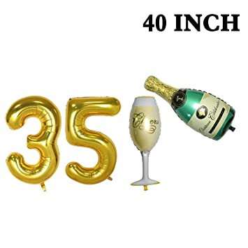 Number 35 Balloons And Champagne Set