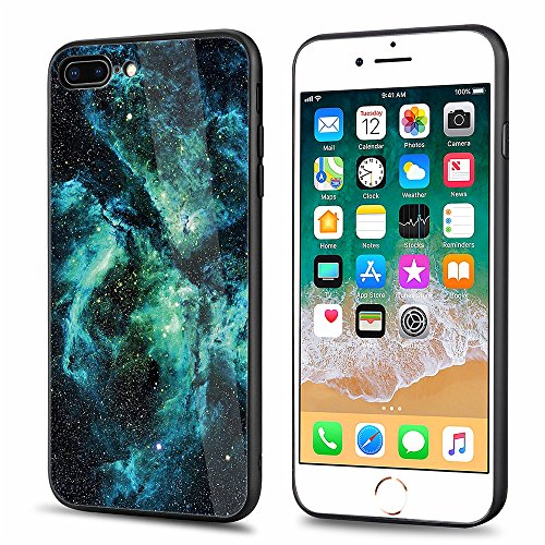 Price comparison product image iPhone 7 Plus,iPhone 8 Plus,DAMONDY 3D Glitter Sky Star Tempered Glass Soft TPU Bumper 2 in 1 Back Protective Case Shockproof Rubber Hybrid Skin Silicone Cover For iPhone 7 Plus/8 Plus-Green