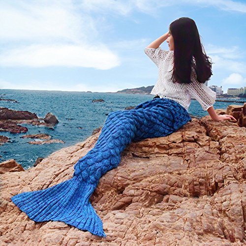 Price comparison product image Mermaid Tail Blanket VariousStyle Snuggle Crochet Seasons Warm Soft Handmade Living Room Sleeping Bag Blankets for Adults Teens Kids (Adult-Scaly Style-Sky Blue)
