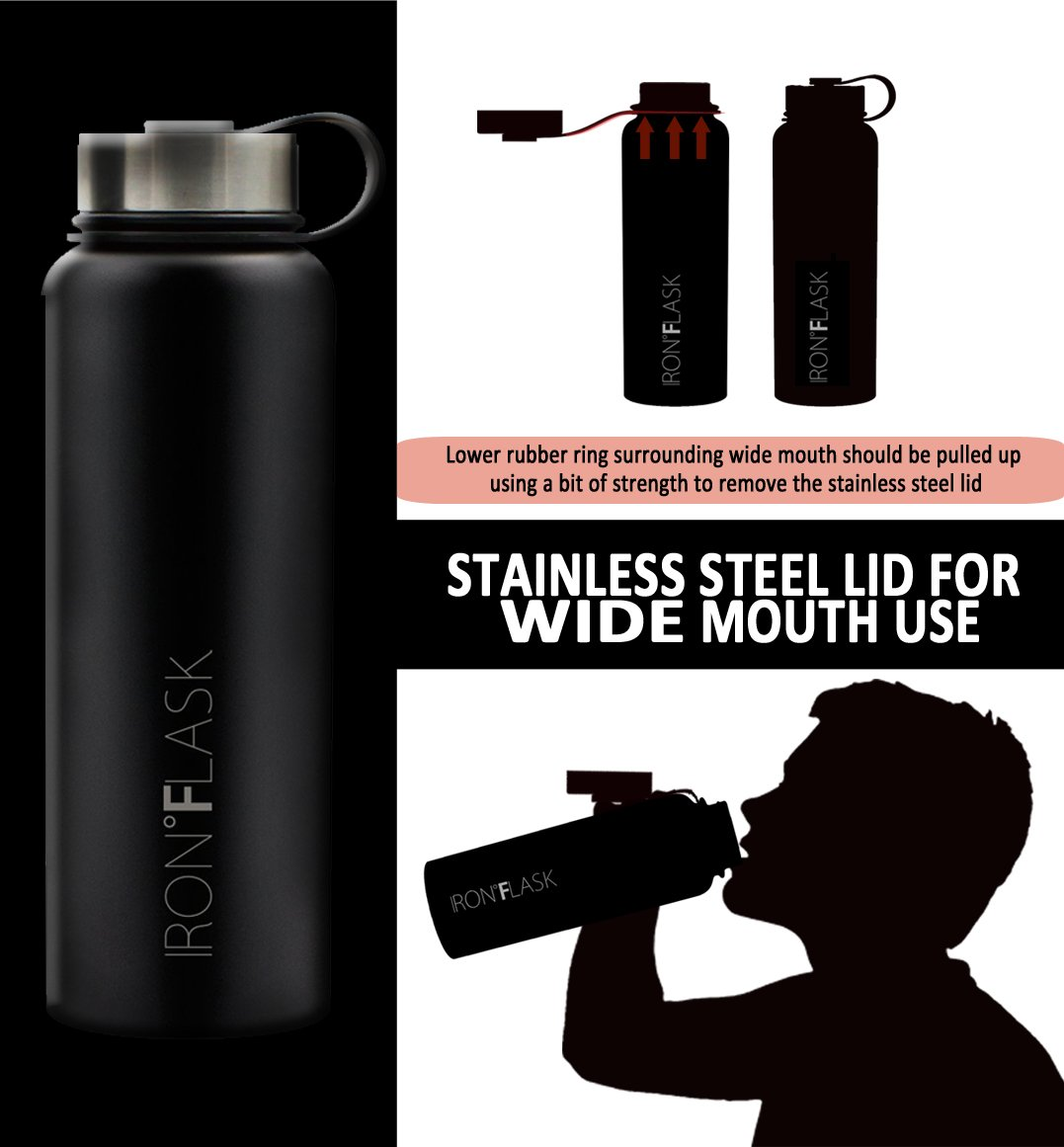 Iron Flask - 40 oz, 3 Lids, Vacuum Insulated Stainless Steel Water Bottle, Hot & Cold, Wide Mouth, Nalgene, Double Walled, Simple Flow Thermo Modern Travel Mug, Hydro Canteen Powder Coated, Black by Iron Flask (Image #4)