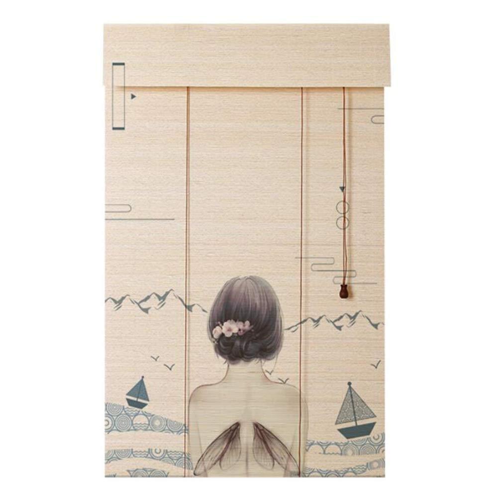 DRAPEDL Decorazioni in Stile Giapponese Tenda a Rullo Oscurante Retro Semplice Sala da t/è Portico da Giardino Parasole Paravento a Prova di Polvere Color : Style1, Size : W80*H90cm