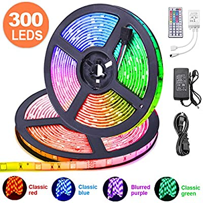 LED Strip Lights 32.8 ft, ESEYE IP65 Waterproof Flexible RGB Tape Lights Self Adhesive Multicolor 12V 5A 5050 300LEDs Neon Mood Ribbon Light kit for Room Kitchen TV Festival Illumination with Remote