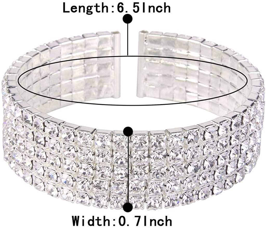 Clearine Womens Wedding Bridal Disco Ball Inspired Crystal Open Stretch Bracelet Clear