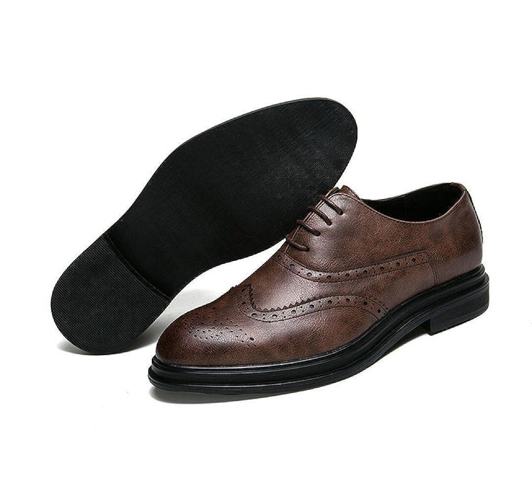 ... LEDLFIE Herrenschuhe Bullock Schnürschuh Carved Business Casual  Abnutzung Schnürschuh Bullock Schuhe Braun ... 5d84c436b3