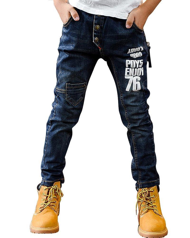 ZiXing Jungen Blau Jeans Stone-washed Baumwolljeans Lässige Jeans