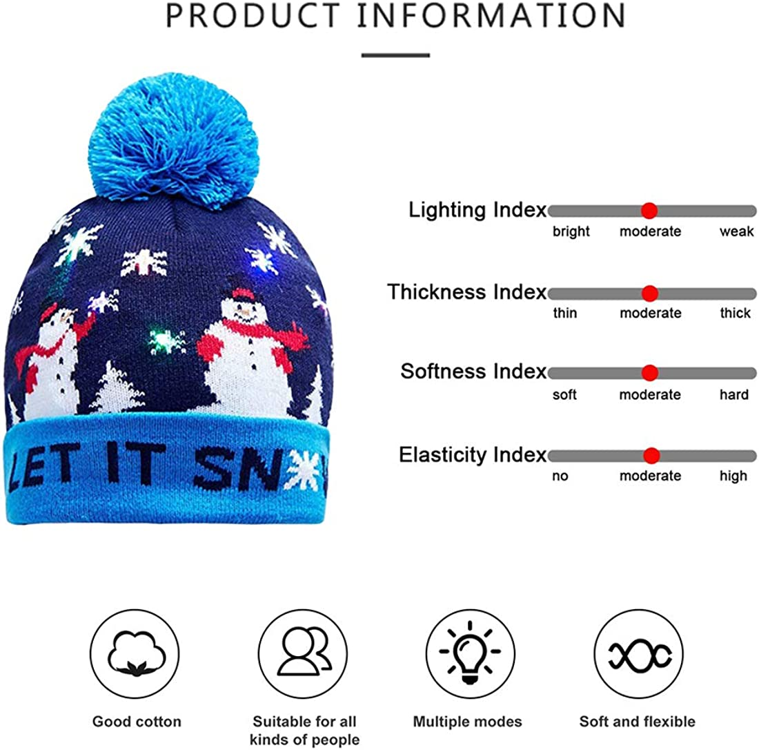 PRAVETTE LED Christmas Light Up Hat with 6 Colorful Lights,Unisex Beanie Knit Cap Winter Snow Hat Sweater for Party