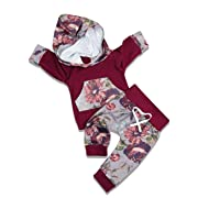 Newborn Baby Girl Clothes Long Sleeve Breathable Hoodie Sweatshirt Top +Kangero Pocket +Floral Pant Outfits Set(0-6 Months)
