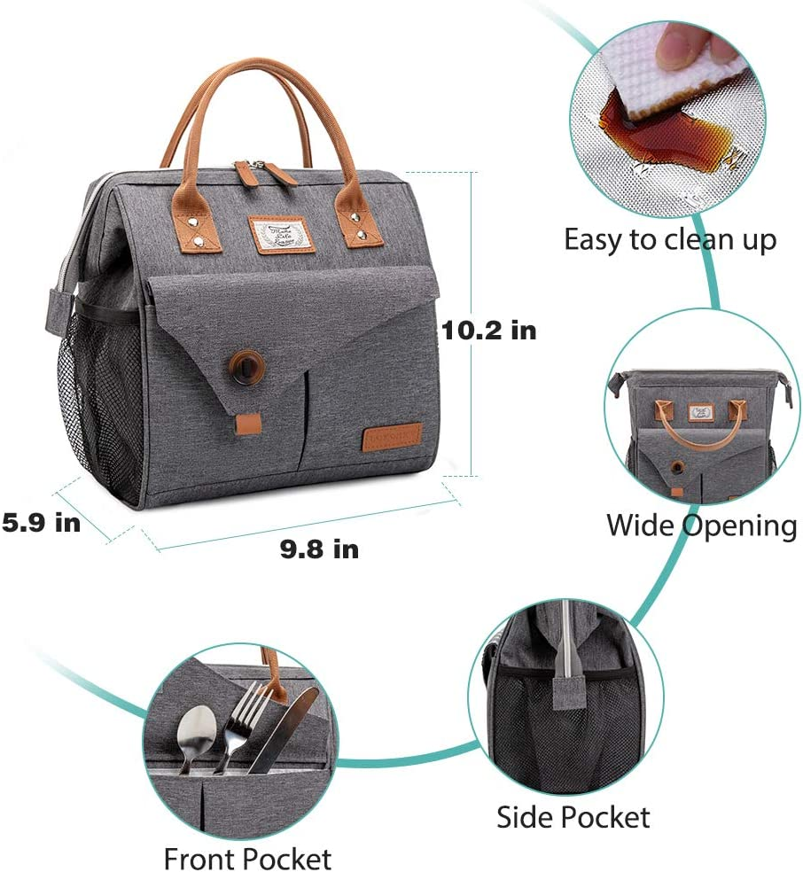 Grey Lekesky Insulated Lunch Bag for Women Lunch Box Leakproof ...
