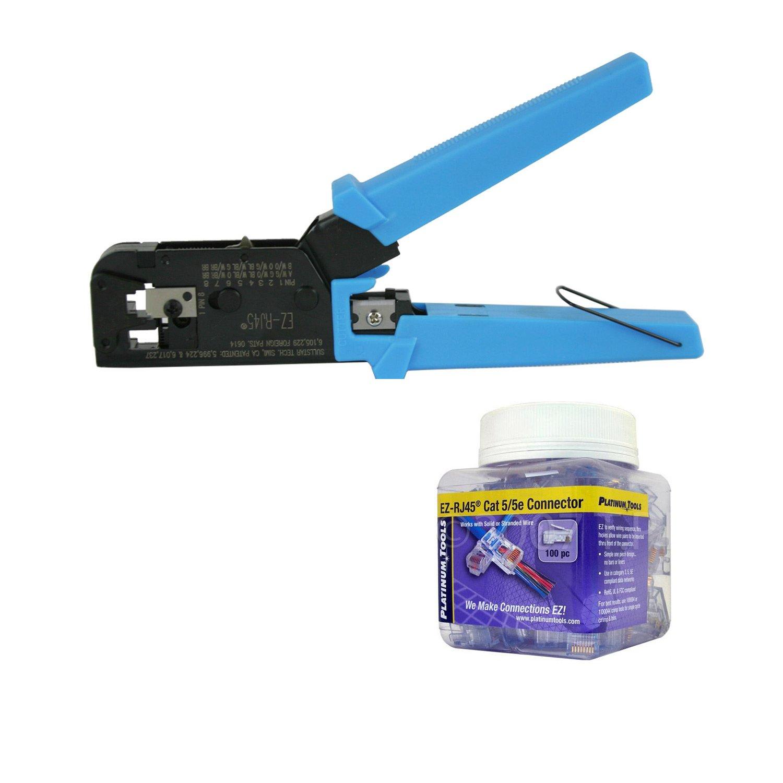 Platinum Tools 100004C EZ-RJ45 Crimper Tool, Jar EZ-RJ45 Cat5/5e 100 Connectors