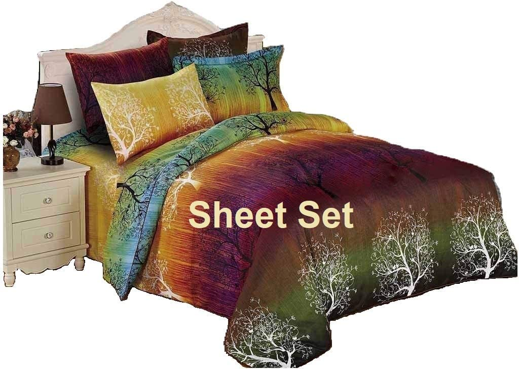 Swanson Beddings Rainbow Tree 100% Polyester Sheet Set : Fitted Sheet, Flat Sheet and Two Matching Pillowcases (Queen)