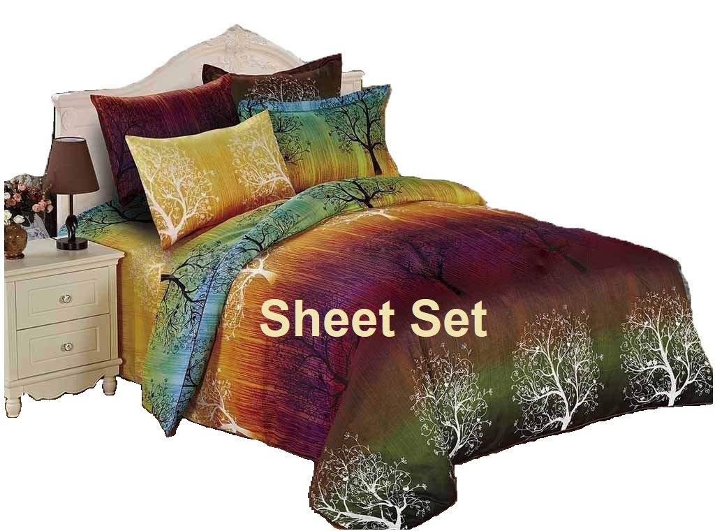 Swanson Beddings Rainbow Tree 100% Polyester Sheet Set : Fitted Sheet, Flat Sheet and Two Matching Pillowcases (California King)