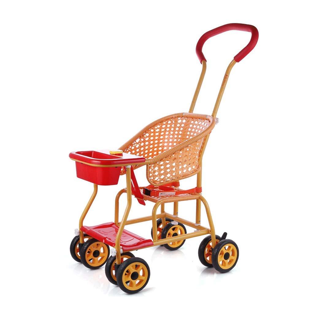 Cochecito ligero y fácil Rueda universal Cochecito de bebé Imitación de bambú y rota Coche Transpirable para niños (Color : A)