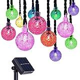 Caroki Solar String Lights Lanterns, 7m/23ft 50 LED [8 Modes] Waterproof [IP65] Outdoor Solar Lights Garden Bubble Ball Bulbs Decorative Lighting Fence Lights for Garden, Patio, Yard, Home(Multi-Color)