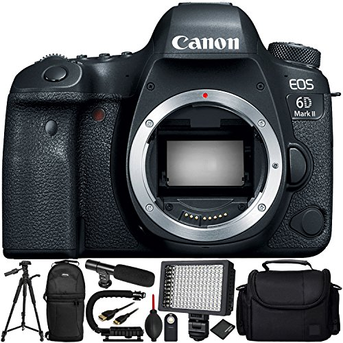 Canon EOS 6D Mark II DSLR Camera (Body Only) - 10PC Accessory Bundle Includes Professional 160 LED Video Light + Mini Condenser Shotgun Microphone + Full-Size 72