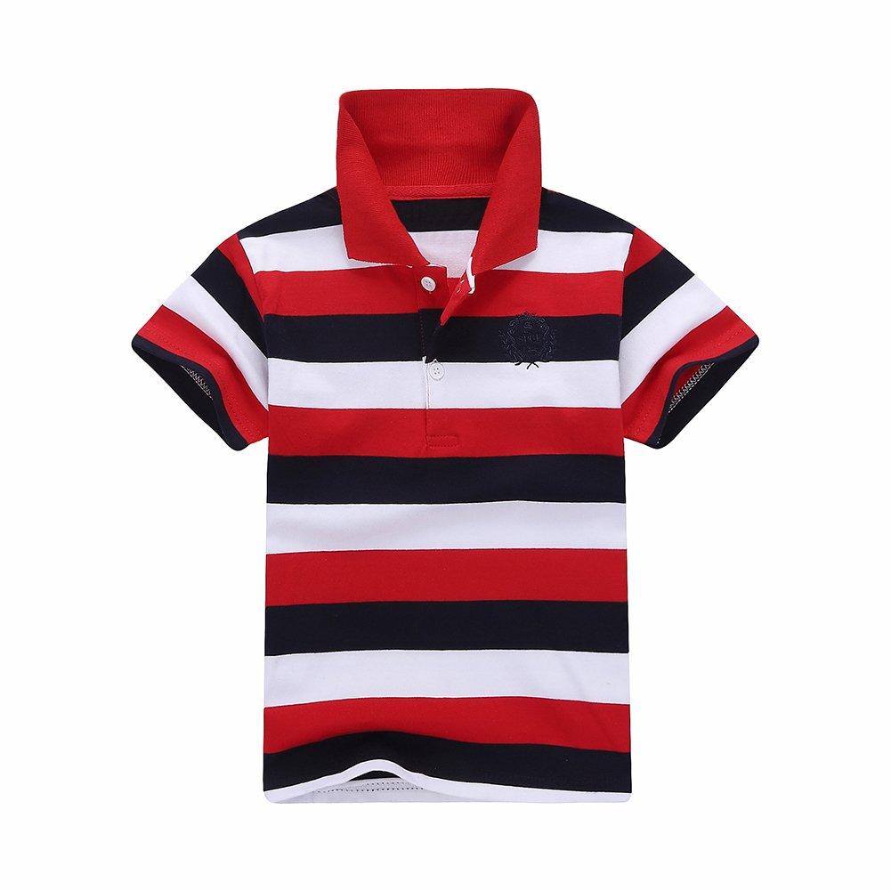 Motteecity Fashion Boys Striped Style Colors Kids Printed Turndown Collar Polo Shirt