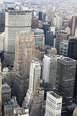 6-Feet wide by 8-Feet high. Prepasted wallpaper mural from a photo of a: View from NYC Empire State Building. Our murals are easy to hang remove and reuse (hang again) if U do as in our video.