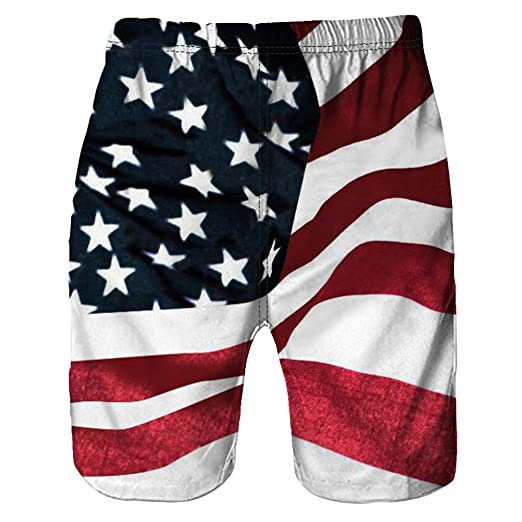 f0140f52c9a29 Allywit Men Shorts 3D USA Flag Mens Quick Dry Board Short Swim Trunks (Red,