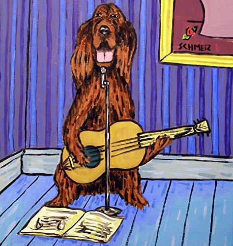 (Irish Setter playing Guitar decor Dog art tile coaster gift)