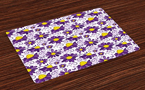 Lunarable Violet Place Mats Set of 4, Abstract Floral Design with Butterflies Swirl Lines Animal and Plant World, Washable Fabric Placemats for Dining Room Kitchen Table Decor, Purple Yellow White by Lunarable