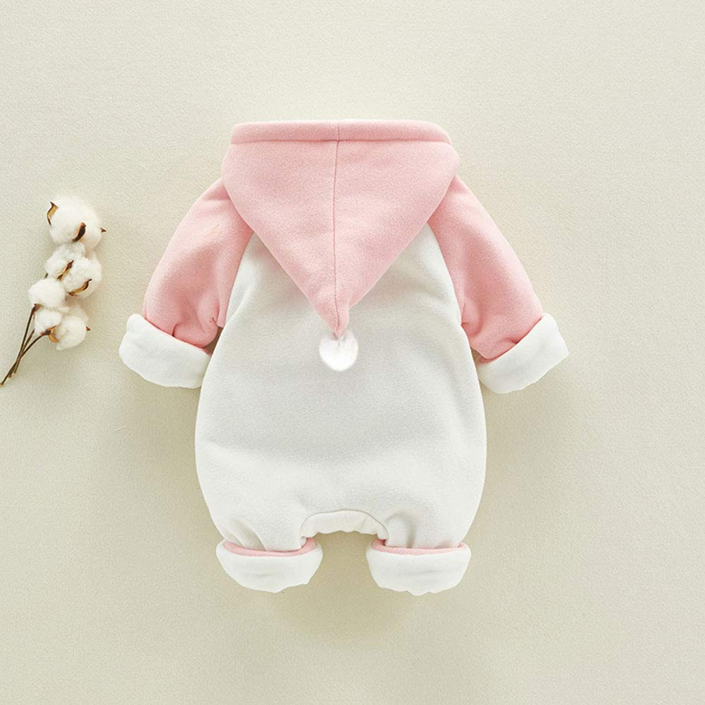 M/&A Newborn Baby Romper Girls Winter Thicken Hooded Jumpsuit Outfits Pink