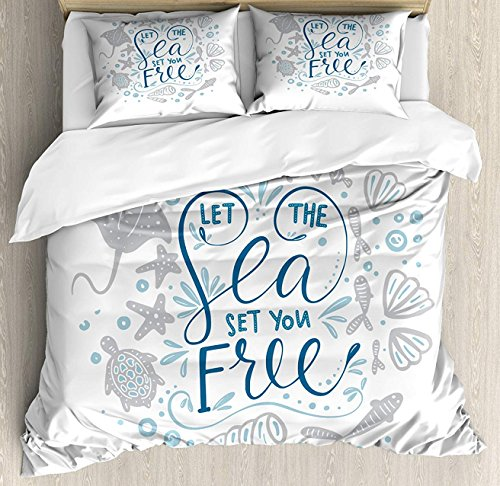 Stingray Pearl - Ultra Soft Microfiber Duvet Cover Set, 4PC Lightweight Bedding Set with Zipper Closure & Ties for Bedroom, Let The Sea Set You Free Quote Shellfish Turtle Stingray Pearl Navy Blue Pale Blue Twin