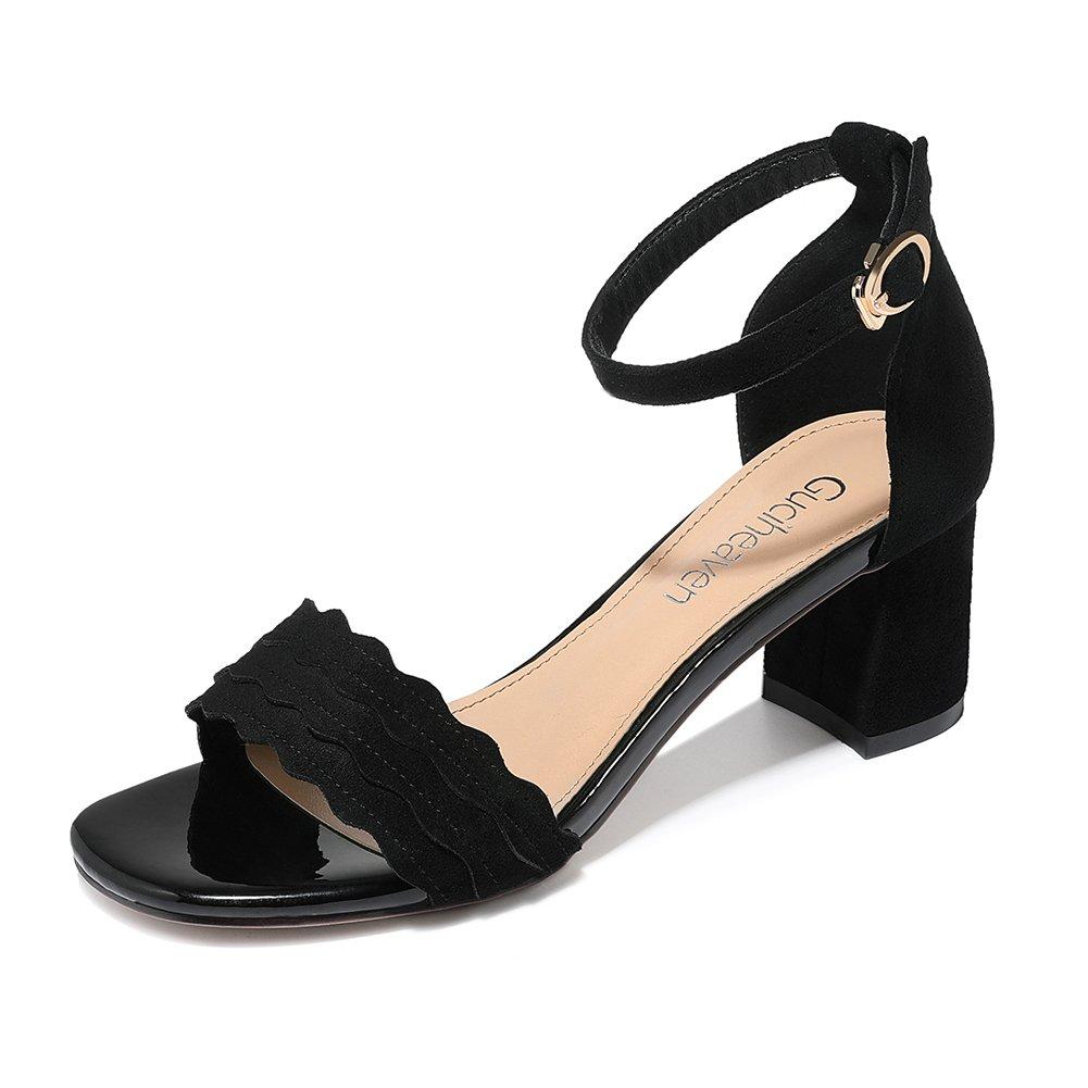 KJJDE Damen Riemchen Wedges Sandalen JZTC-8942 Wildleder Klettverschluss Keilabsatz Schuhe Bequem 55CM  37|black