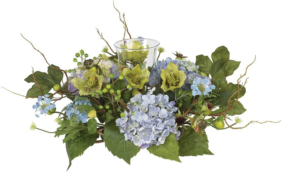 Nearly Natural 4632 Bl Hydrangea Candleabrum Decorative Centerpiece Blue 9 X 11 25 X 13 Home Kitchen