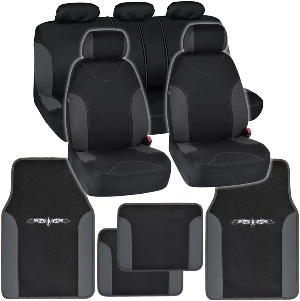 BDKInstaSeat Car Seat Covers & Floor Mats (Black & Charcoal Trim) NeoCloth & Carpet w/ Vinyl Trim