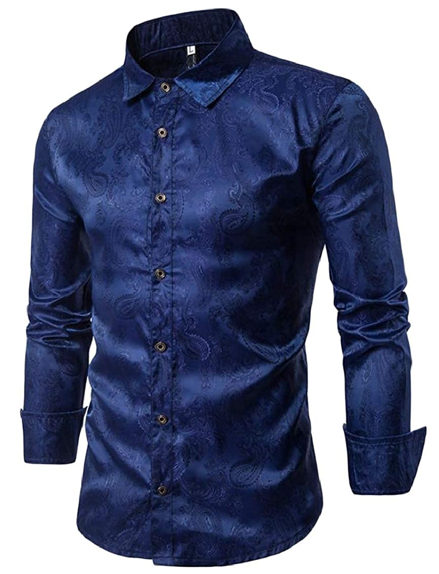 Sweatwater Mens Concise Paisley Turn Down Printed Long Sleeve Button Down Shirts