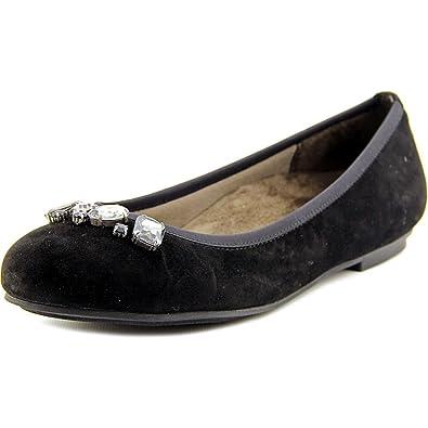 Vionic Womens Spark Kiska Slip on Ballet Flat Shoes, Black, US 6.5 W