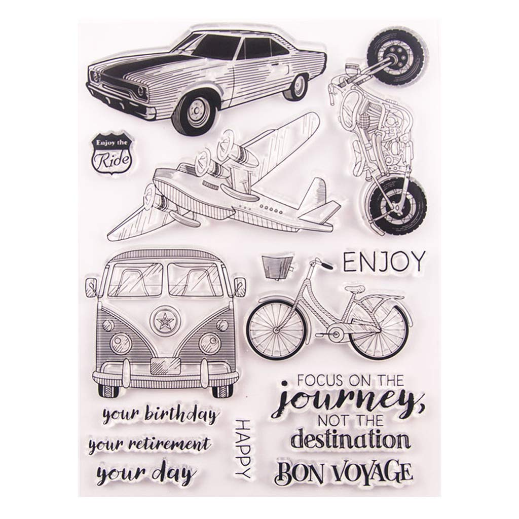 Exing Sellos Scrapbooking Silicona Clear Stamp,Coche Plano ...