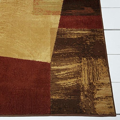 Home Dynamix Catalina Bismark Area Rug | Modern Living Room Rug | Abstract Square Design | Textural Brushstrokes | Brown, Beige and Red 5'3''x7'2'' by Home Dynamix (Image #2)
