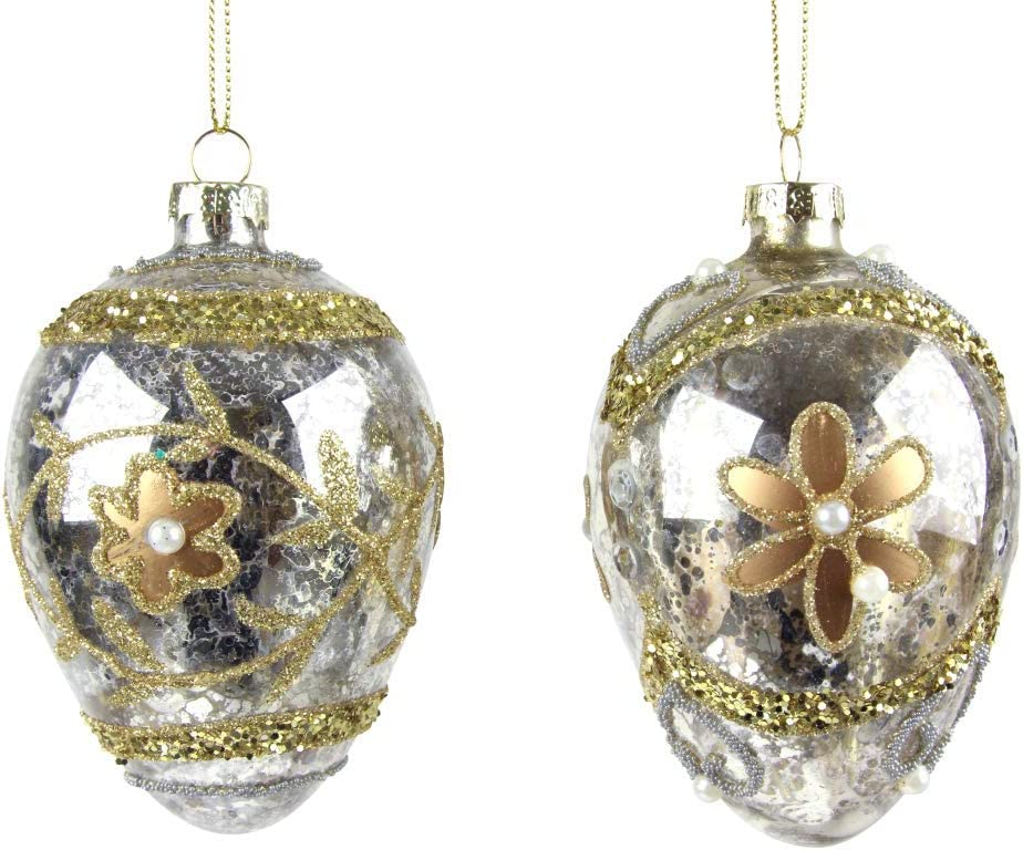 Silver Egg Christmas Tree Decoration Swags 10cm