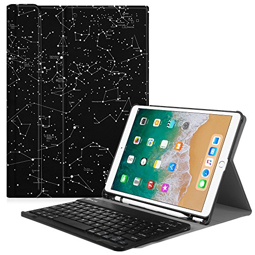 Keyboard Case with Built-in Apple Pencil Holder - SlimShell Protective Cover with Magnetically Detachable Wireless Bluetooth Keyboard for Apple iPad Pro 10.5 2017, Constellation ()