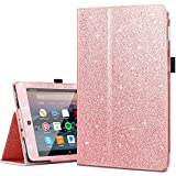 All-New Amazon Fire HD 8 Tablet Case(7th Generation,2017 Release Only),Fingic Sparkly Folding Stand Case with Holder&Auto Wake/Sleep Case for Fire HD 8 (2017 Release),Rose Gold