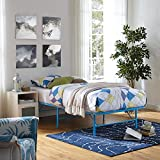 Modway Horizon Twin Bed Frame In Light Blue - Replaces Box Spring - Folding Portable Metal Mattress Bed Frame With Storage - Low Profile - Heavy Duty