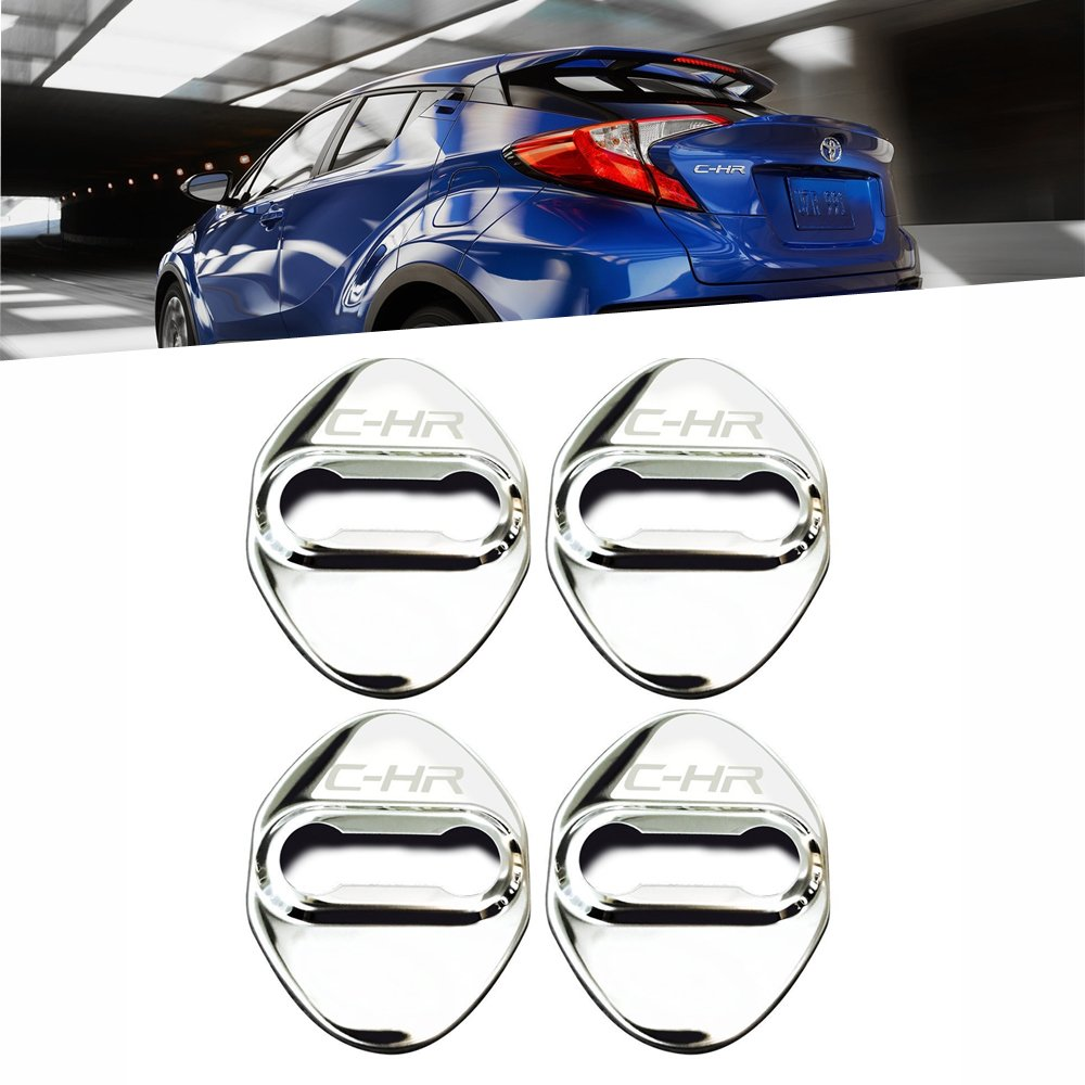 1797 Toyota CHR Door Latch Cover Accessories 2018 Car Door Lock Cover Decorations Decor Buckle Cap Logo Interior Exterior Parts Body Kit Anti Corrosion Device Stainless Steel 3M Gum Silver 4Pcs