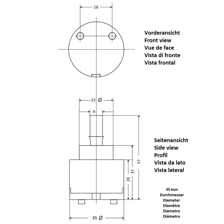 Cartucho de recambio de cer/ámica 35/mm para grifo mezclador Monomando