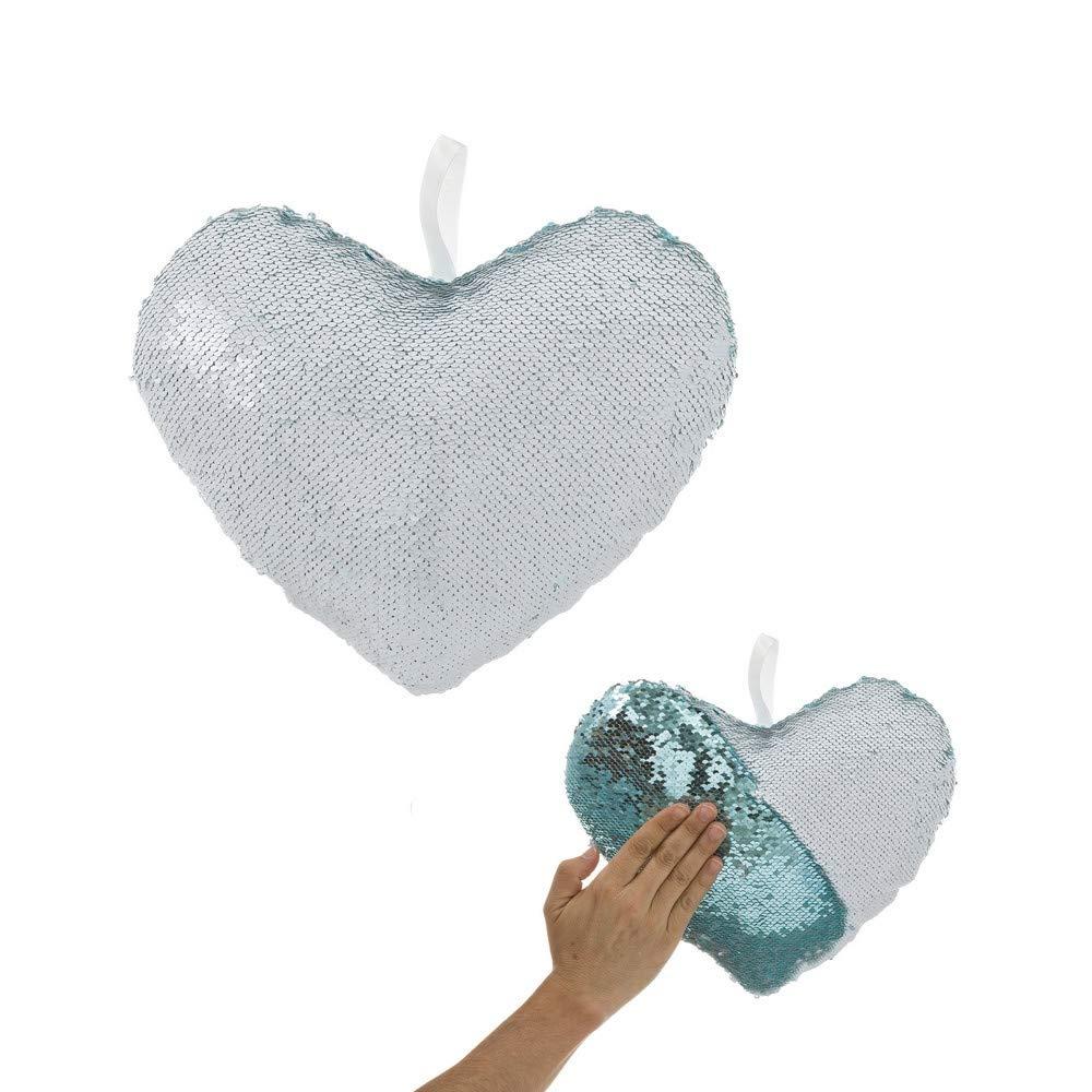 UNIMASA Cojín de Lentejuelas Azul de corazón romántico para ...