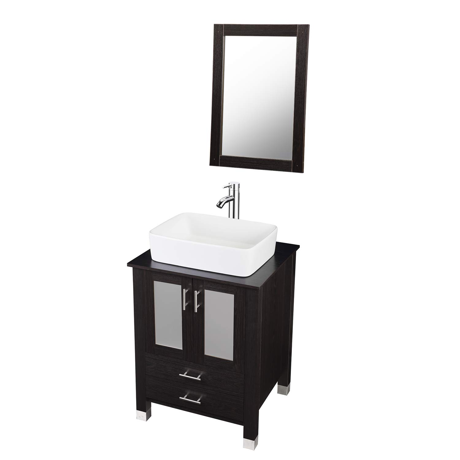 DOIT 24 inch Modern Bathroom Vanity and Sink Combo Stand Cabinet Bowl White Ceramic Sink Single Bathroom Vanity with Top and Mirror